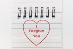 Tekst Wybaczam Ciebie zdjęcia royalty free