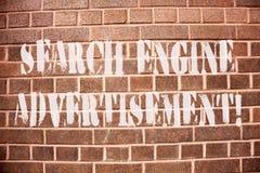 Tekst wyszukiwarki szyldowa pokazuje reklama Konceptualna fotografia Umieszcza online reklamy na webpages zdjęcia royalty free