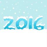 Tekst '2016' z opadem śniegu na błękitnym tle Obraz Royalty Free