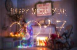 Tekst 2017 zrobił sparklers na czerni Zdjęcia Royalty Free