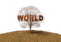 Teksta światu drzewo ilustracja wektor