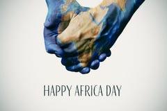 Teksta Africa szczęśliwy dzień i mapa meblujący NASA Zdjęcia Stock