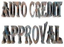 Teksta auto kredytowy zatwierdzenie na białym tle ilustracji