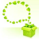 Teksta bąbel od ulistnienia z zieleni pudełkiem liście ilustracja wektor