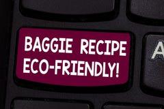Teksta Baggie szyldowy pokazuje przepis Eco Życzliwy Konceptualna fotografii torba na zakupy która może reused analysisy czasy Kl zdjęcia royalty free