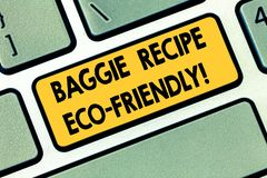Teksta Baggie szyldowy pokazuje przepis Eco Życzliwy Konceptualna fotografii torba na zakupy która może reused analysisy czasy Kl fotografia stock