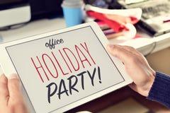 Teksta biurowy wakacyjny przyjęcie na pastylce Zdjęcia Stock