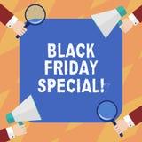 Teksta Black Friday szyldowy pokazuje dodatek specjalny Konceptualna fotografia dzień po dziękczynienie sprzedaży zakupy Szaloneg royalty ilustracja