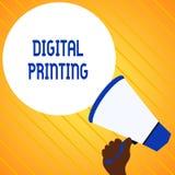 Teksta Cyfrowego szyldowy pokazuje druk Konceptualnej fotografii cyfrowi zasadzeni wizerunki bezpośrednio rozmaitość środki Wręcz ilustracja wektor