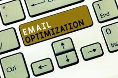 Teksta emaila szyldowy pokazuje optymalizacja Konceptualna fotografia Maksymalizuje skuteczność kampania marketingowa obraz stock