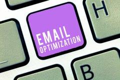 Teksta emaila szyldowy pokazuje optymalizacja Konceptualna fotografia Maksymalizuje skuteczność kampania marketingowa zdjęcie stock