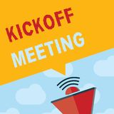 Teksta Kickoff szyldowy pokazuje spotkanie Konceptualnej fotografii Specjalna dyskusja na legalność wymagać w projekcie ilustracji
