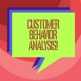 Teksta klienta zachowania szyldowa pokazuje analiza Konceptualny fotografii kupienia zachowanie konsumenci które używają towarową ilustracja wektor
