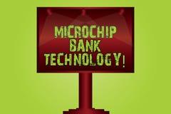 Teksta mikroukładu banka szyldowa pokazuje technologia Konceptualnej fotografii Binarne transakcje banka fundusz i oszczędzanie P royalty ilustracja