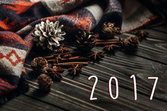 2017 teksta nowego roku szyldowa liczba na drewnianym nieociosanym tle Zdrój Obrazy Royalty Free