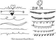 Teksta ornamentu ręka rysująca i dividers doodle projekta wektorowi elementy wykładamy Obrazy Stock
