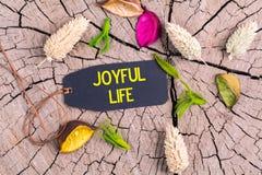 Teksta radosny życie w etykietce Fotografia Royalty Free