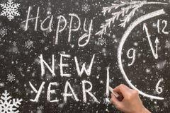 Teksta Szczęśliwy nowy rok 2017 na chalkboard Zdjęcia Royalty Free