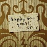 Teksta szczęśliwy nowy rok 2017 w notatce Zdjęcie Stock