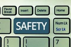 Teksta szyldowy pokazuje bezpieczeństwo Konceptualny fotografia warunek ochraniający od nieprawdopodobnego powodować niebezpiecze zdjęcia stock