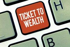 Teksta szyldowy pokazuje bilet bogactwo Konceptualny fotografii koło pomyślności przejście Pomyślna i jaskrawa przyszłość fotografia royalty free