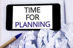 Teksta szyldowy pokazuje czas Dla Planować E zdjęcia stock