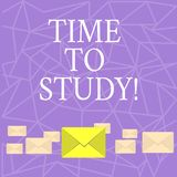 Teksta szyldowy pokazuje czas Studiować Konceptualny fotografia egzaminów potrzeby naprzód koncentrat w studiach uczy się lekcję royalty ilustracja