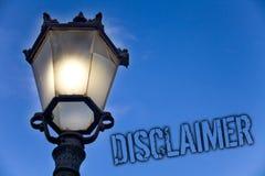 Teksta szyldowy pokazuje dementi Konceptualny fotografia warunków oświadczenie zaprzeczenie roszczenia prawnego Copyright światła zdjęcia royalty free