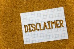 Teksta szyldowy pokazuje dementi Konceptualny fotografia warunków oświadczenie zaprzeczenie roszczenia prawnego Copyright korka t zdjęcie stock