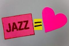 Teksta szyldowy pokazuje jazz Konceptualny fotografia typ muzyka czarnego Amerykańskiego początku gatunku rytmu papieru Muzykalne Obrazy Royalty Free