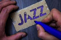 Teksta szyldowy pokazuje jazz Konceptualny fotografia typ muzyka czarnego Amerykańskiego początku Muzykalnego gatunku rytmu Silny Obrazy Stock