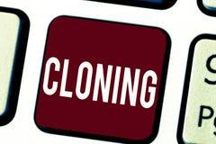 Teksta szyldowy pokazuje klonowanie Konceptualna fotografia Robi identycznym kopiom someone lub coś Tworzy klony obrazy royalty free