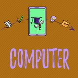 Teksta szyldowy pokazuje komputer Konceptualny fotografii urządzenie elektroniczne sposobny otrzymywać dane spełniania operacje ilustracji