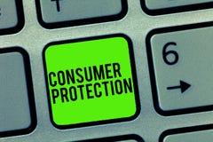Teksta szyldowy pokazuje ochrona konsumentów Konceptualni fotografia uczciwego handlu prawa zapewniać konsument prawic ochronę obraz royalty free