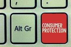 Teksta szyldowy pokazuje ochrona konsumentów Konceptualni fotografia uczciwego handlu prawa zapewniać konsument prawic ochronę obrazy stock