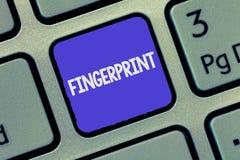 Teksta szyldowy pokazuje odcisk palca Konceptualny fotografii wrażenie, ocena robić na powierzchni demonstruje konem palca lub obrazy royalty free