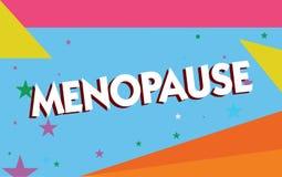 Teksta szyldowy pokazuje przekwitanie Konceptualny fotografii zaprzestanie miesiączek Starych kobiet hormonalnych zmian okres ilustracja wektor