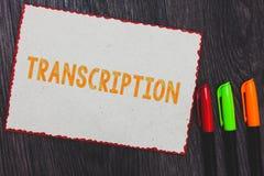 Teksta szyldowy pokazuje transkrybowanie Konceptualnej fotografii Pisać lub drukująca wersja coś Ciężka kopia audio Białego papie zdjęcia stock
