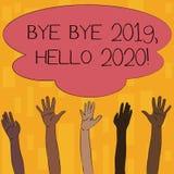 Teksta szyldowy pokazuje walkower - walkower 2019 2020 Cze?? Konceptualna fotografia m?wi ostatni rok i wita inny dobry jeden do  royalty ilustracja