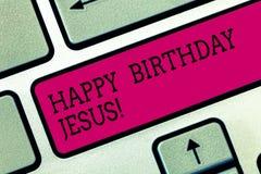 Teksta szyldowy pokazuje wszystkiego najlepszego z okazji urodzin Jezus Konceptualna fotografia Świętuje narodziny święta boga św zdjęcia royalty free