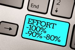 Teksta szyldowy pokazuje wysiłek 100 90 80 Konceptualna fotografia Równa determinaci dyscypliny motywaci komputerowej klawiatury  zdjęcie stock