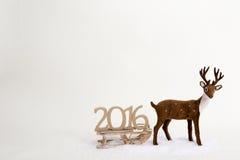 2016 teksta tła zimy kochany saneczki i śnieg Obraz Royalty Free