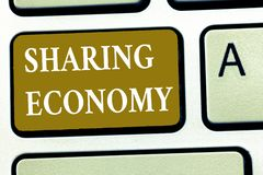 Teksta udzielenia szyldowa pokazuje gospodarka Konceptualny fotografia model ekonomiczny opierający się na providing dostęp towar obraz royalty free