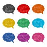 Teksta znak Mówi Jaki pytanie, Mówi Co? ikona lub logo, koloru set royalty ilustracja
