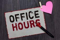Teksta znak pokazuje Biurowe godziny Konceptualna fotografia godziny który normalnie prowadzącym Pracującego czasu Białej strony  obraz royalty free