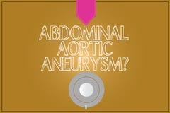 Teksta znak pokazuje Brzusznego Aortic Aneurysmquestion Konceptualna fotografia dostaje znać powiększenie aorty kawa royalty ilustracja