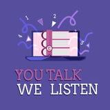 Teksta znak pokazuje Ci rozmowę Słuchamy Konceptualna fotografii Dwudrogowej komunikacji Motywacyjna rozmowa ilustracja wektor
