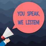 Teksta znak pokazuje Ciebie Mówi Nas Słucha Konceptualna fotografia Komunikuje my twój ewidencyjną Hu analizy rękę i uczucia royalty ilustracja
