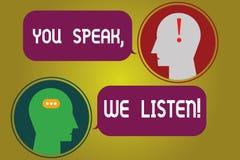 Teksta znak pokazuje Ciebie Mówi Nas Słucha Konceptualna fotografia Komunikuje my twój ewidencyjnego gona pokój i uczucia ilustracja wektor