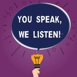 Teksta znak pokazuje Ciebie Mówi Nas Słucha Konceptualna fotografia Komunikuje my twój ewidencyjnego Pustego Owalnego kolor i ucz ilustracji